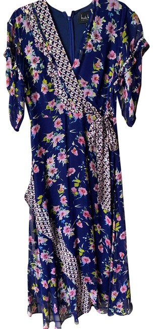Item - Blue Pink Floral Msrp Long Casual Maxi Dress Size 4 (S)