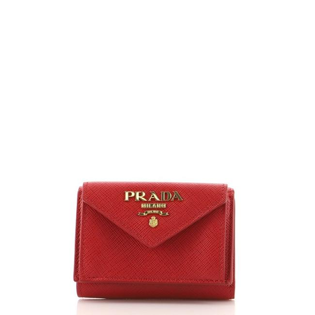 Item - Red Front Pocket Trifold Saffiano Leather Compact Wallet
