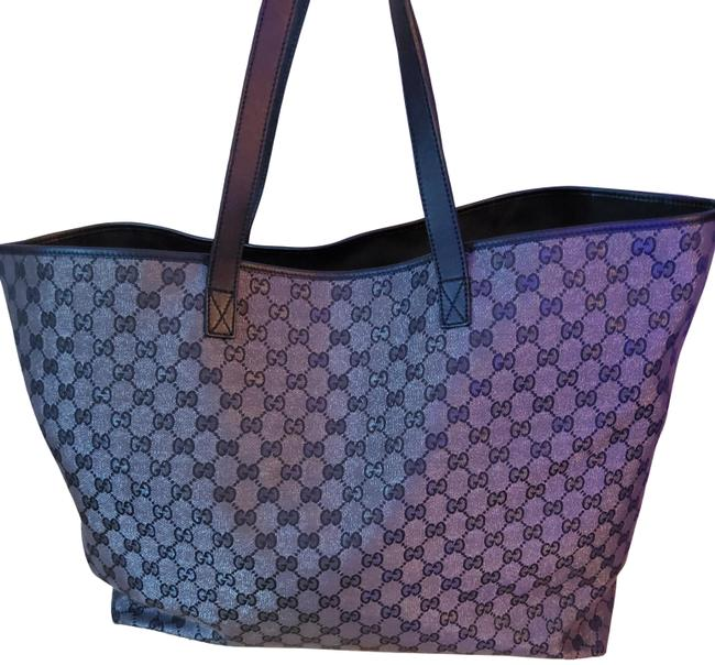 Item - Bag Black with Silver Gg Canvas Tote