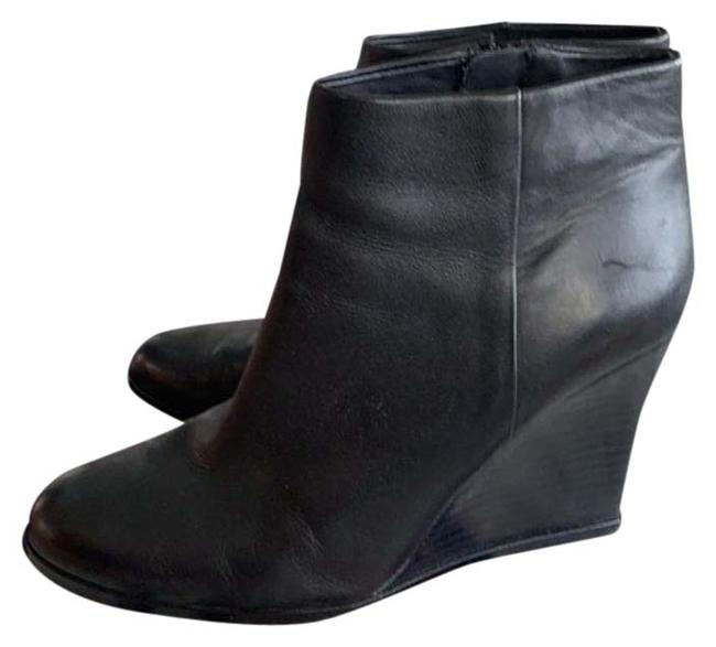 Item - Black Leather Wedge Boots/Booties Size US 7.5 Regular (M, B)