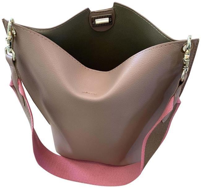 Item - Bucket With Striped Strap Blush Faux Leather Cross Body Bag