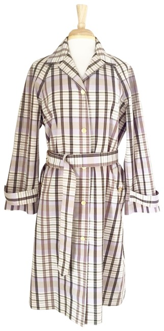 Item - Tan Plaid Belted Long Trench Coat Womens Small Jacket Size 4 (S)