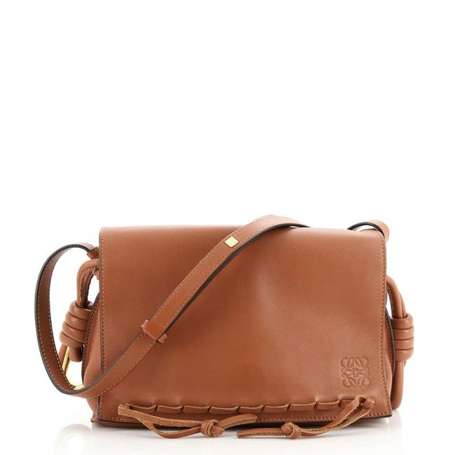 Item - Flamenco Knot Whipstitch Brown Leather Messenger Bag