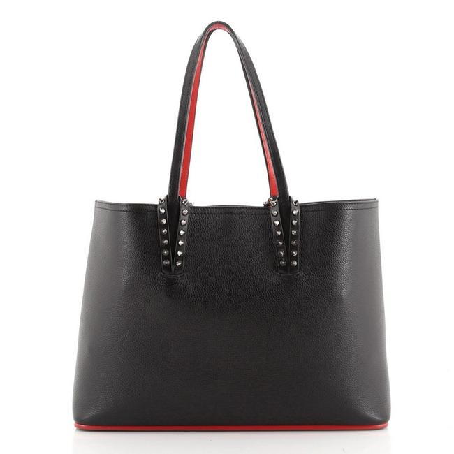 Item - East West Cabata Small Black Red Leather Tote