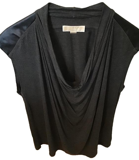 Item - None Gray Fabric Black Faux Leather Top