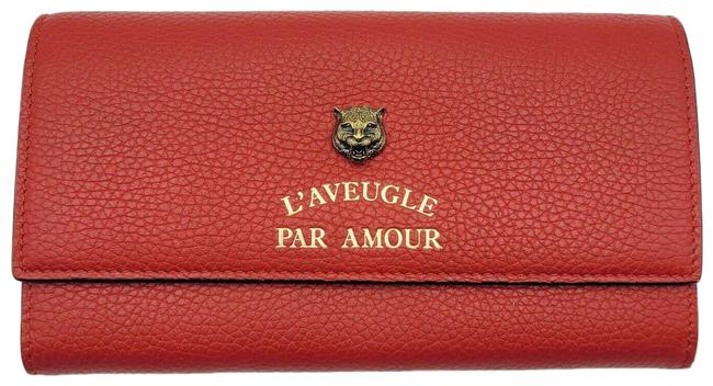 Item - Red Animalie Tiger Head Leather Long Flap Continental 453164 64 Wallet