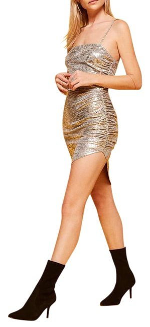 Item - Silver Flare Short Night Out Dress Size 12 (L)