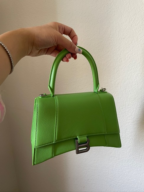 Balenciaga Hourglass (Small Size) Green Leather Satchel Balenciaga Hourglass (Small Size) Green Leather Satchel Image 2
