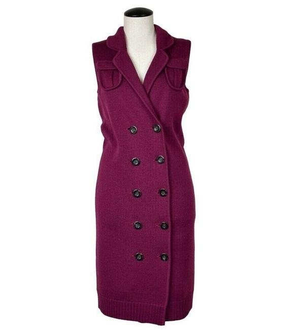 Item - Purple Lychen Burgundy Wool Sweater Button Front Mid-length Cocktail Dress Size 4 (S)
