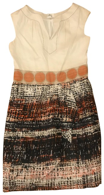 Item - Cream and Multi Linen Sleeve Short Casual Dress Size 10 (M)