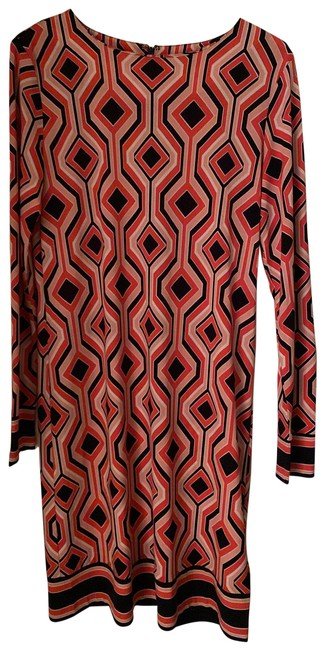 Item - Orange and Navy Geometric Pattern Mid-length Casual Maxi Dress Size 4 (S)