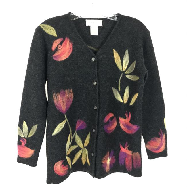 Item - Multicolor Floral Embroidered Pure Sweater Cardigan Size 6 (S)
