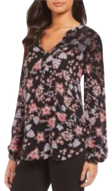 Item - Black Floral High Low Tunic Blouse Size 4 (S)