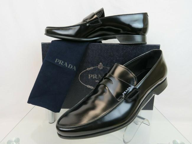 Item - Black 2dc212 Polished Leather Penny White Logo Loafers 9.5 Us 10.5 Shoes