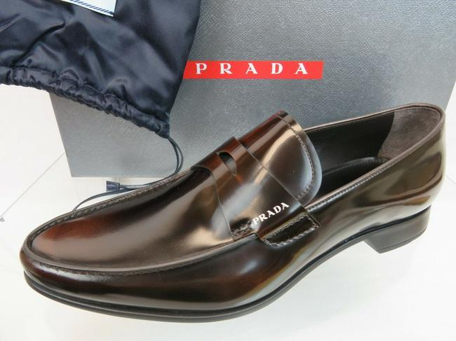Item - Brown 2dc212 Dark Polished Leather Penny Logo Loafers 7.5 Us 8.5 Italy Shoes