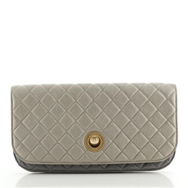 Item - Pearl Full Flap Quilted Lambskin Gold Gray Metallic Leather Clutch