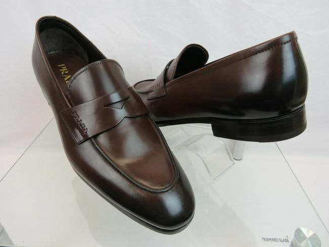 Item - Brown 2db185 Dark Burnished Leather Penny Logo Loafers 7 / Us 8 Shoes