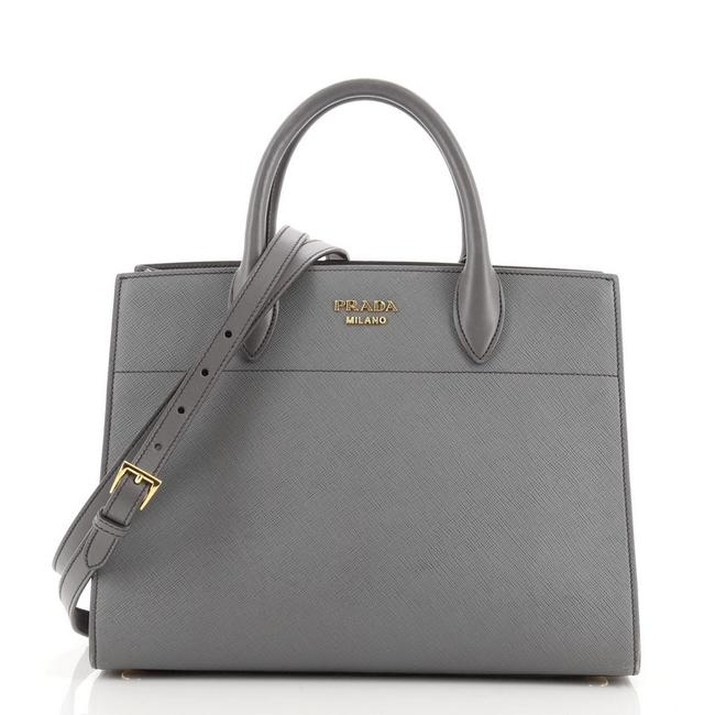 Item - Bibliotheque Saffiano with City Calf Medium Gray Leather Tote