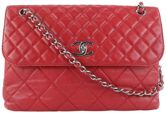 Item - Chain Quilted Jumbo Flap Silver 413cas528 Red Lambskin Leather Shoulder Bag