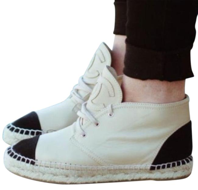 Item - Black White High Top Leather Logo Espadrilles Laces Boots/Booties Size EU 38 (Approx. US 8) Regular (M, B)
