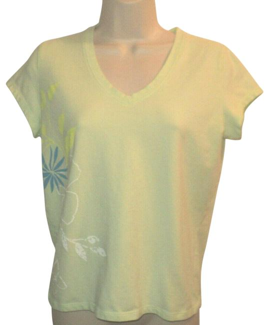 Item - Lime Green V Neckline Floral Accent Print Tee Shirt Size 10 (M)