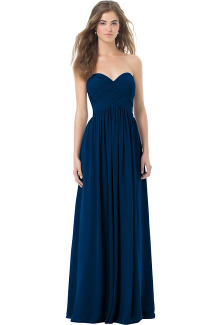 Item - Navy Chiffon Style: 386 Strapless with Empire Waist (Optional Straps) Formal Bridesmaid/Mob Dress Size 2 (XS)