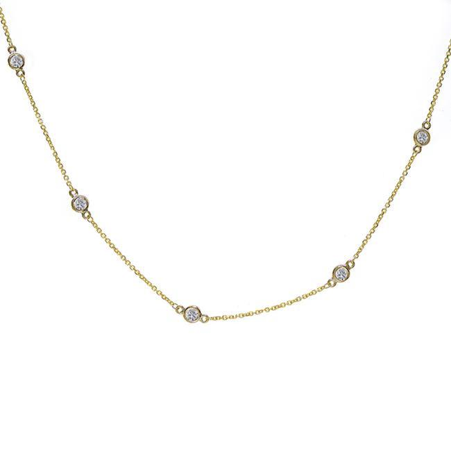 Item - 14k Yellow Gold 0.70 Carat Round Diamonds By The Yard Necklace