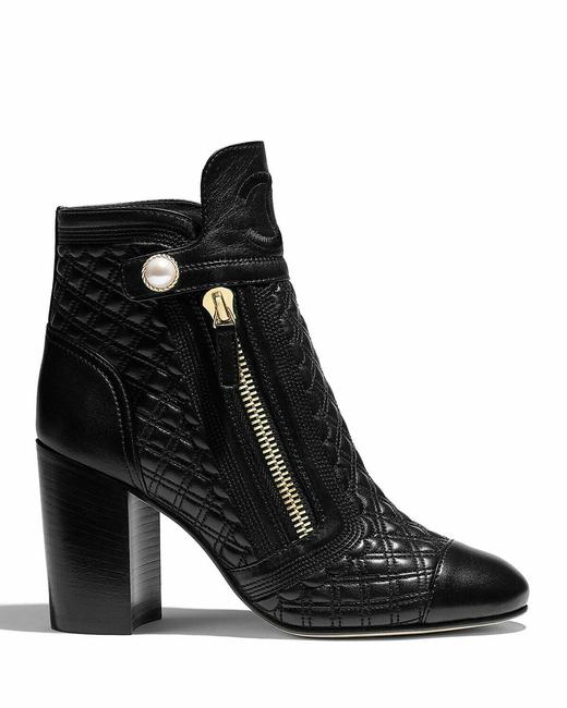 Item - Black 85mm Quilted with Faux Pearl Snap Boots/Booties Size US 8 Regular (M, B)