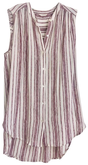 Item - Purple and Off White Sleeveless Blouse Size 8 (M)