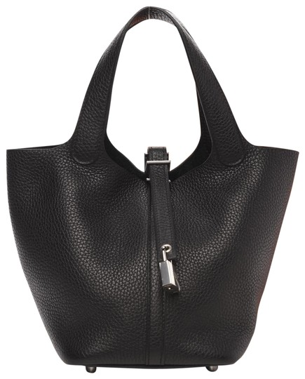 Hermès Picotin New Clemence Lock 18 Phw with Receip ( Black Phw) Leather Hobo Bag