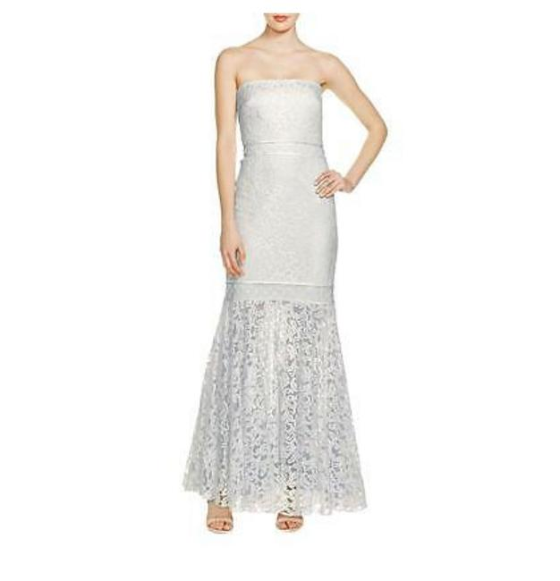 Item - Ivory and Ice Blue & Lace Strapless Trumpet Gown Long Formal Dress Size 14 (L)