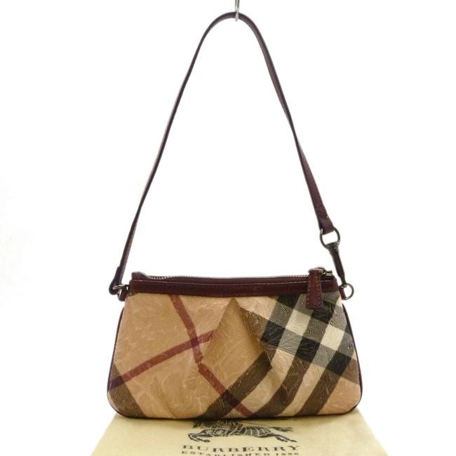 Item - Check Emboss Hand Brown Pvc Leather Tote