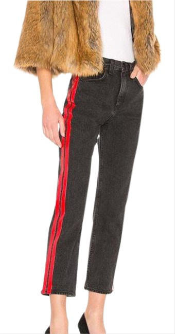 Item - Black Distressed New Washed Red Stripes Straight Leg Jeans Size 8 (M, 29, 30)