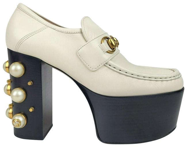 Item - White Leather Pearls and Studs Oxford Heel 38/Us 470970 9022 Platforms Size US 8 Regular (M, B)