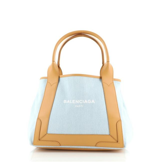 Item - Cabas Navy with Leather Small Blue Brown Canvas (Plain) Satchel