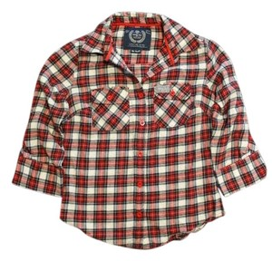envy me Plaid Button-up Button 3/4-sleeve Short-sleeve Adjustable Roll Button Down Shirt Red