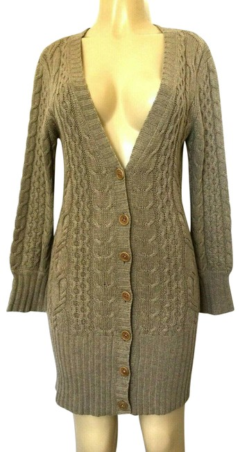 Item - Cardigan Cable Knit Taupe Gray Sweater