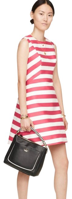Item - Pink Cream Striped Fit and Flare Mid-length Formal Dress Size 10 (M)