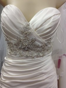 Casablanca Ivory Satin Champagne Ruched Mermaid Beaded Formal Wedding Dress Size 10 (M)