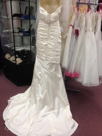 Casablanca Ivory Satin Champagne Ruched Mermaid Beaded Formal Wedding Dress Size 10 (M) Image 1