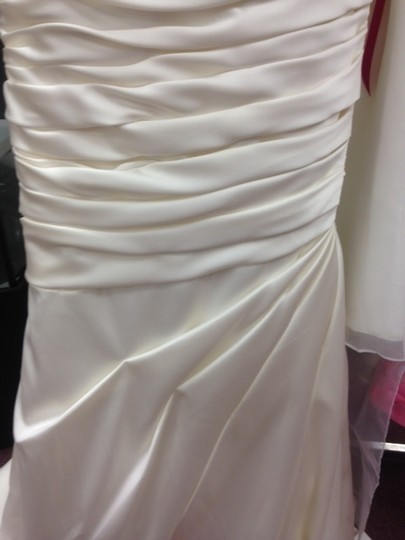 Casablanca Ivory Satin Champagne Ruched Mermaid Beaded Formal Wedding Dress Size 10 (M) Image 2