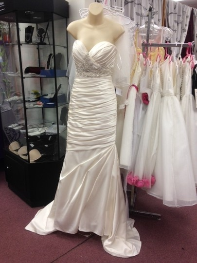 Casablanca Ivory Satin Champagne Ruched Mermaid Beaded Formal Wedding Dress Size 10 (M) Image 3