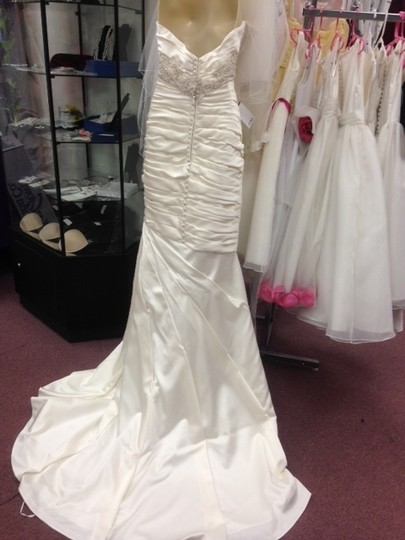 Casablanca Ivory Satin Champagne Ruched Mermaid Beaded Formal Wedding Dress Size 10 (M) Image 5