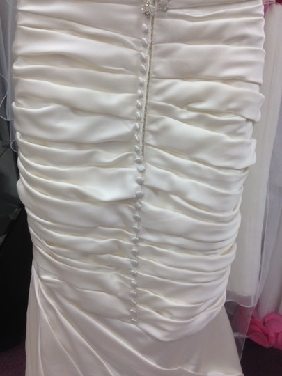 Casablanca Ivory Satin Champagne Ruched Mermaid Beaded Formal Wedding Dress Size 10 (M) Image 7