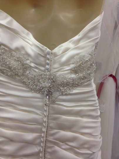 Casablanca Ivory Satin Champagne Ruched Mermaid Beaded Formal Wedding Dress Size 10 (M) Image 8