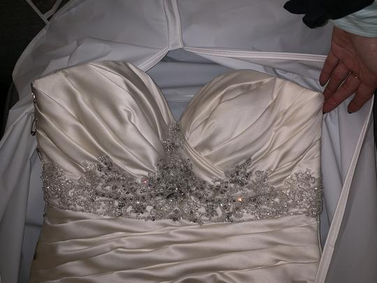 Casablanca Ivory Satin Champagne Ruched Mermaid Beaded Formal Wedding Dress Size 10 (M) Image 9