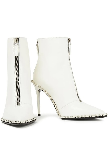 Item - White Eri 100 Mm Leather Studded Boots/Booties Size US 9 Regular (M, B)