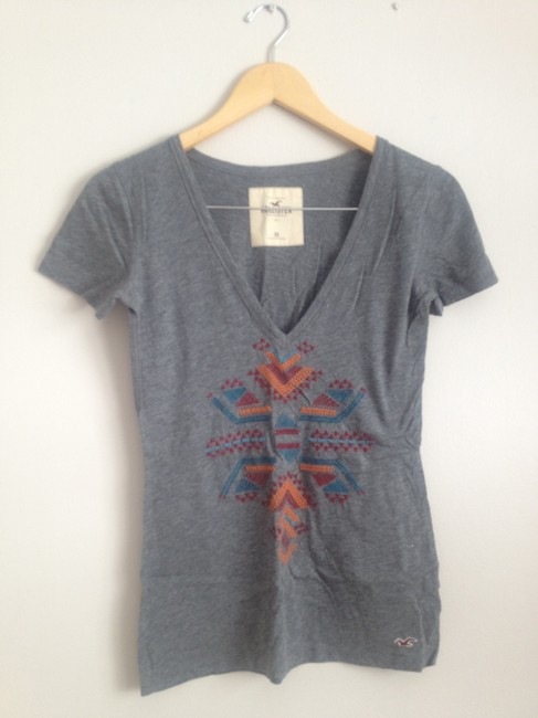 Hollister T Shirt Grey with colored tribal embroidery