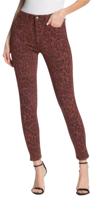 Item - Red The Charlie Leopard Print High Rise Skinny Jeans Size 27 (4, S)