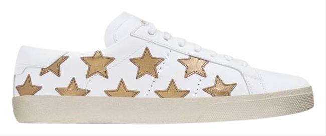 Item - White Signature Court Sl/06 California In Off Leather and Dark Gold Metallic Leather Sneakers Size EU 40 (Approx. US 10) Regular (M, B)